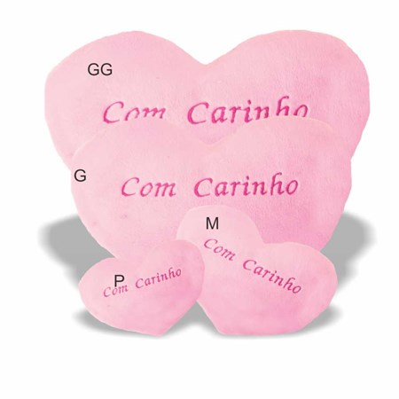 ALMOFADA CORAÇÃO - COM CARINHO - TAMANHO G