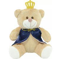 Urso Pelúcia Principe Coroa Com Capa Azul - Tamanho M