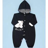 Macacão Manga Longa Com Capuz Preto Bears Enxoval Bebê Menino - M