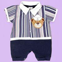 Macacão de Bebê Curto Urso Marinheiro Azul Marinho - G