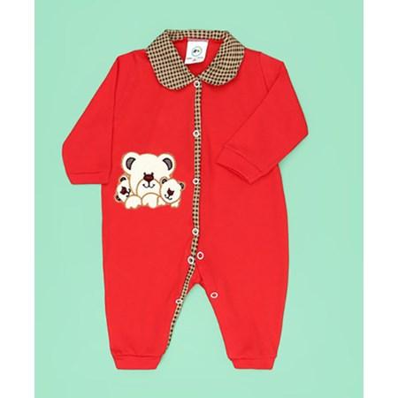 Macacão de Bebê Família Urso Vermelho Manga Longa