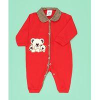 Macacão de Bebê Família Urso Vermelho Manga Longa - M