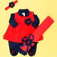 Saída de Maternidade Bonequinha Azul - Vermelho Bebê Menina 04 Peças - RN