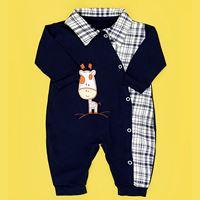 Macacão de Bebê Menino Girafa Azul Marinho - Xadrez Manga Longa - M