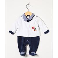 Macacão Masculino em Plush Esportes Azul Marinho/Branco - P