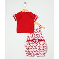 Conjunto Jardineira + Camiseta de Bebê Laço Vermelho - M