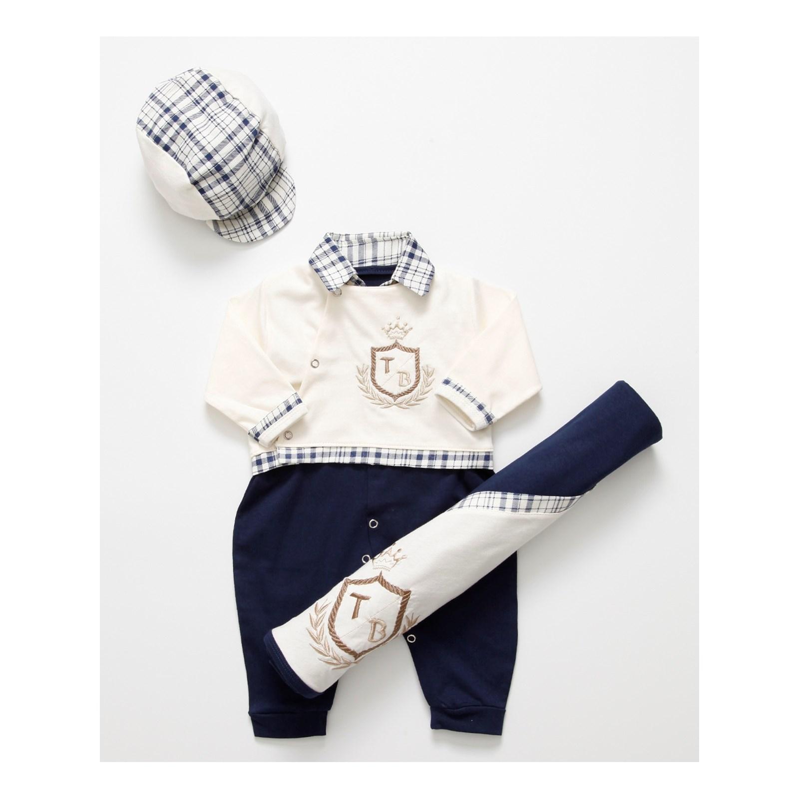 Saída de Maternidade Brasão Enxoval Para Bebê Menino Azul Palha - P e33e2752840