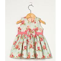 Vestido Floral com Poá Rosa - 01