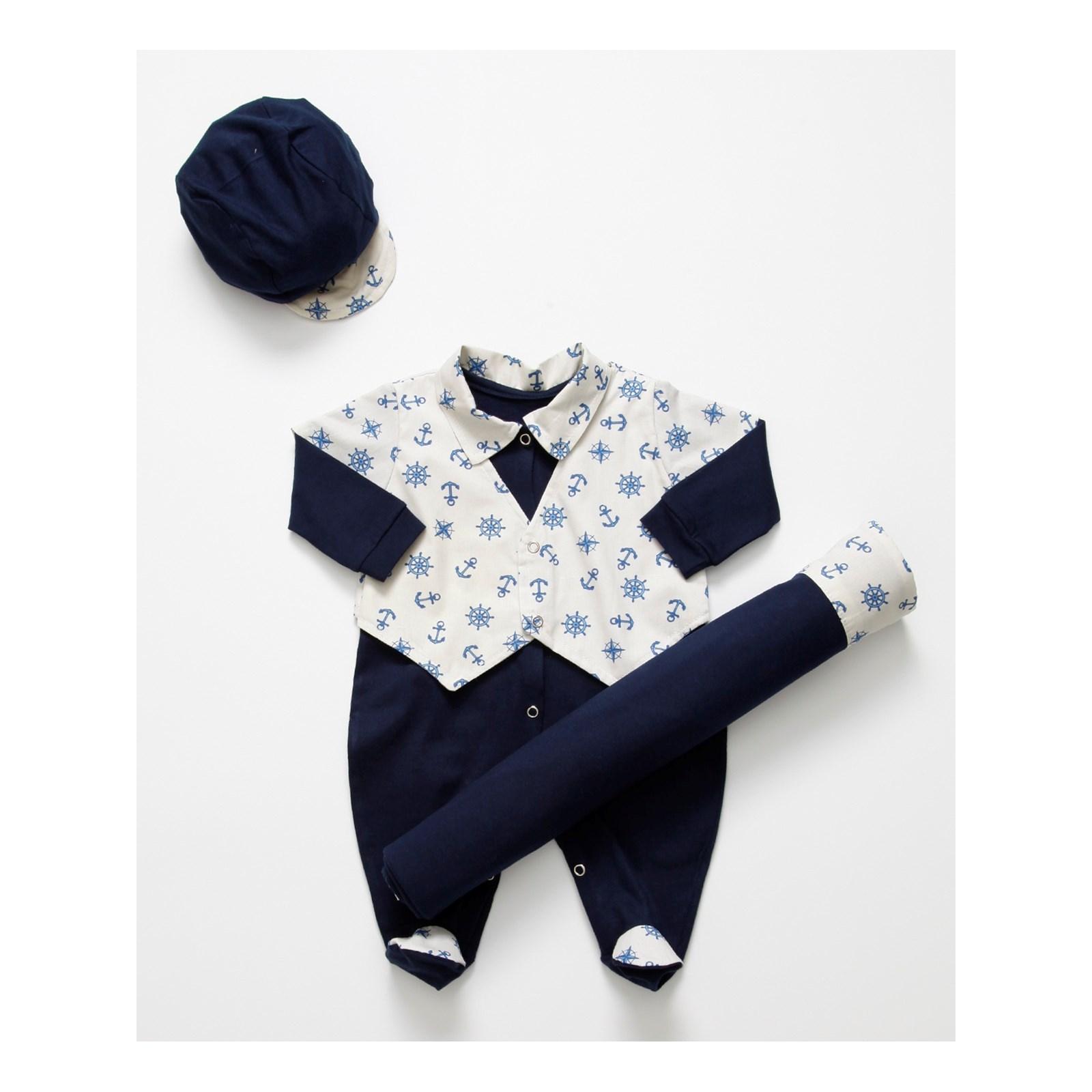 Saída de Maternidade Ancora II Enxoval Para Bebê Menino Azul Marinho  Palha 8988e82a2135d