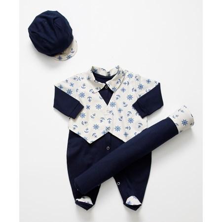 Saída de Maternidade Ancora II Enxoval Para Bebê Menino Azul Marinho/ Palha