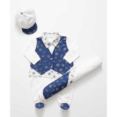 Saída de Maternidade Ancora Enxoval Para Bebê Menino Palha e Azul