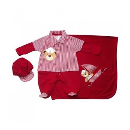 Saída de Maternidade Urso Marinheiro Vermelho Para Bebê Menino - P
