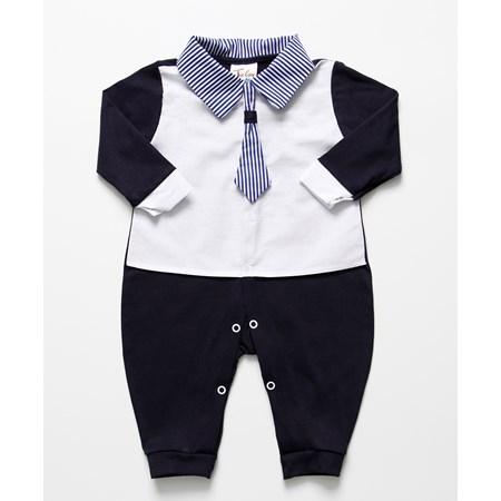 Macacão de Bebê Menino Gravata Azul Marinho Branco Manga Longa