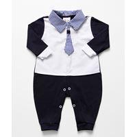 Macacão de Bebê Menino Gravata Azul Marinho Branco Manga Longa - G