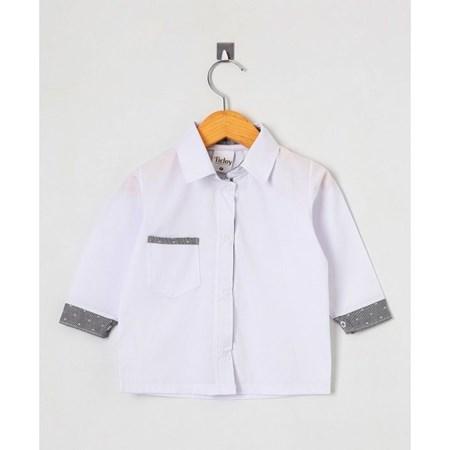 Camiseta de Bebê Manga Longa Casual Branco tamanho G