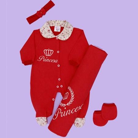 Saída de Maternidade Princesa Vermelho Bebê Menina 4 Peças Malha