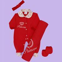 Saída de Maternidade Princesa Vermelho Bebê Menina 4 Peças Malha - RN