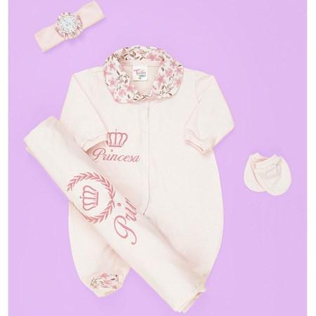 Saída de Maternidade Princesa Rosa Bebê Enxoval Menina 04 Peças