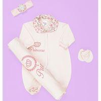 Saída de Maternidade Princesa Rosa Bebê Enxoval Menina 04 Peças - RN