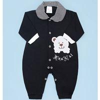 Macacão de Bebê Menino Bears Preto Manga Longa - P