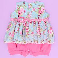 Macacão Bebê Menina Verão Candy Floral Rosa / Azul Claro - M