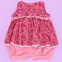 Macacão de Bebê Verão Maravilha Rosa Escuro / Floral Bordô - P