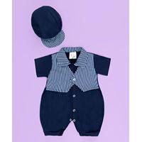 Macacão Curto + Boné Bebê Ninos Azul Marinho - Listrado 2 Peças - P