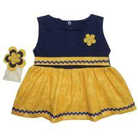 Vestido Manu Amarelo c/ Marinho - Tamanho M