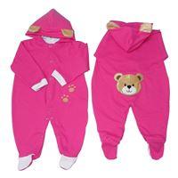 Macacão Com Capuz Zoo Urso Manga Longa Pink - Tamanho P