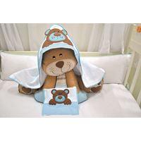 Kit Toalha Familía Urso Azul