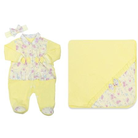 Saída de Maternidade Sofia Floral Amarelo 3 peças