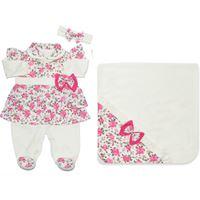 Saída de Maternidade Tiffany Palha com Floral Pink 3 peças