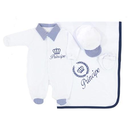Saída de Maternidade Príncipe Branco Para Bebê Menino 04 Peças