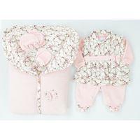 Saída de Maternidade Pequena Babi - 5 Peças - Rosa Bebê- Plush