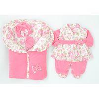 Saída de Maternidade Pequena Babi - 5 Peças - Rosa - Plush