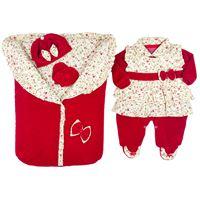Saída de Maternidade Pequena Babi - 5 Peças - Vermelha - Plush