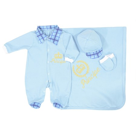 Saída de Maternidade Príncipe Azul Bebe Coroa Dourada