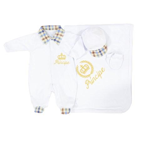 Saída de Maternidade Príncipe Branco Coroa Dourada