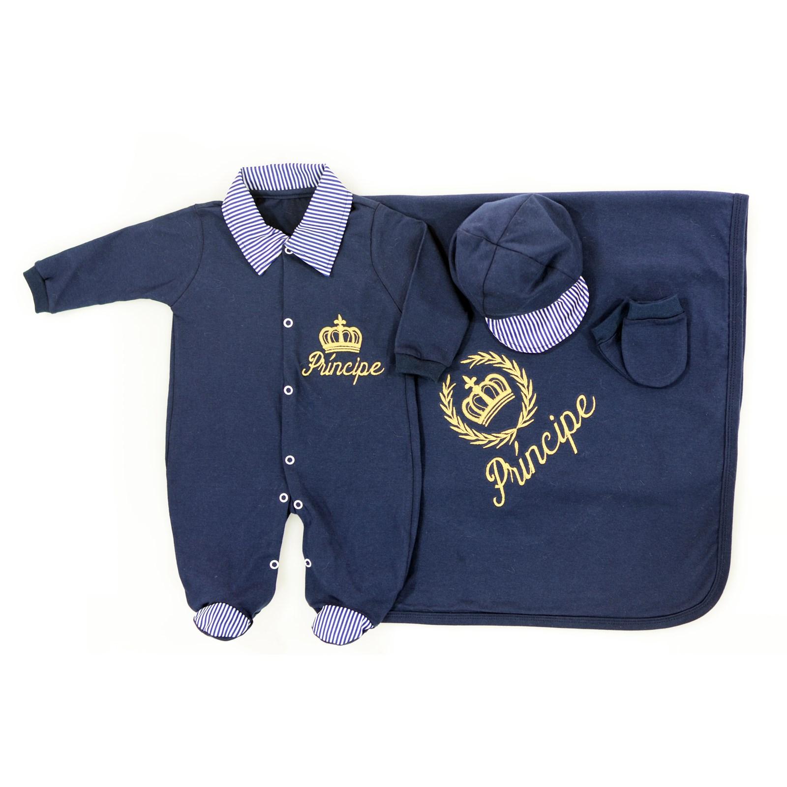 Saída de Maternidade Príncipe Azul Marinho Coroa Dourada a08031aa56e