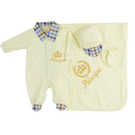 Saída de Maternidade Príncipe Amarelo Bebê Coroa Dourada