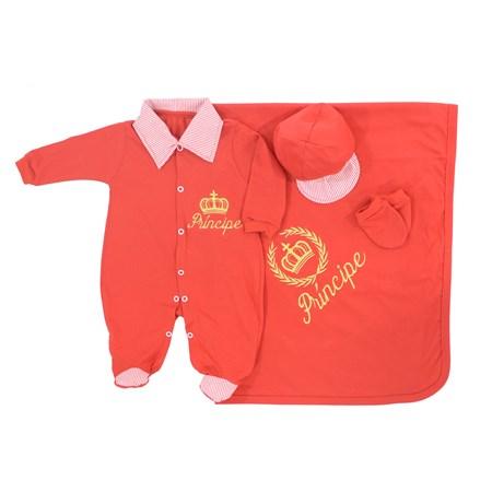 Saída de Maternidade Príncipe Vermelho Coroa Dourada