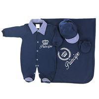 Saída de Maternidade Príncipe Enxoval Para Bebê Menino Azul Malha - RN