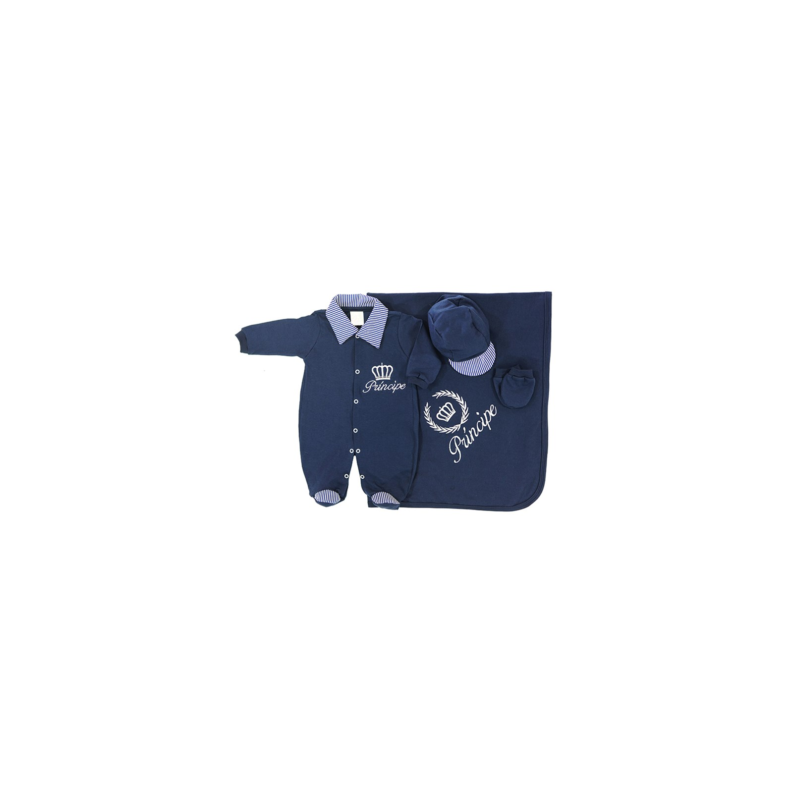 Saída de Maternidade Príncipe Enxoval Para Bebê Menino Azul Malha - RN c0d1712c20d