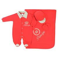 Saída de Maternidade Príncipe Vermelho Bebê Menino 4 Peças Malha - P