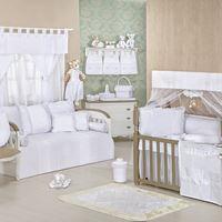 Quarto de Bebê Completo Clean Branco Com Enxoval Cama Babá 39 peças