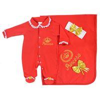 Saída de Maternidade Princesa Vermelha - Luxo - Bordado Dourado - 03 Peças