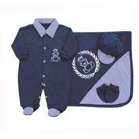 Saída de Maternidade Príncipe Ursinho 4 Peças Azul Marinho