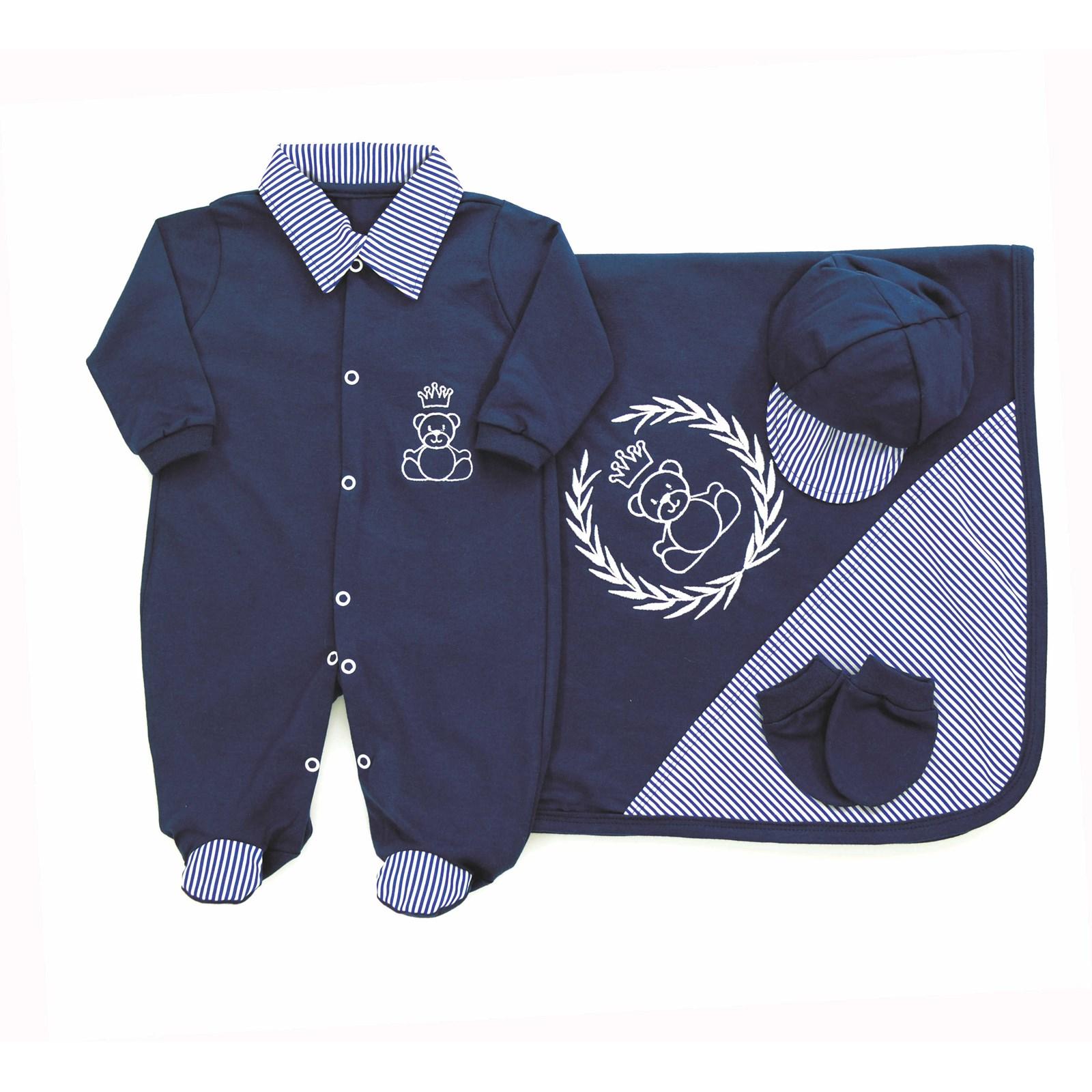 Saída de Maternidade Príncipe Ursinho 4 Peças Azul Marinho 814d8bd7a25