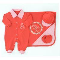 Saída de Maternidade Príncipe Ursinho 4 Peças Vermelho