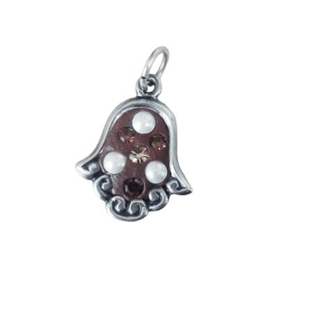 Pingente hamsa artesanal de prata marrom
